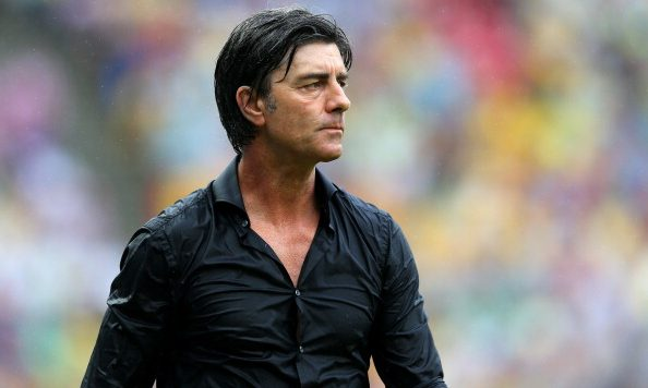 RECIFE, BRAZIL - JUNE 26:  Head coach Joachim Loew of Germany looks on during the 2014 FIFA World Cup Brazil Group G match between USA and Germany at Arena Pernambuco on June 26, 2014 in Recife, Brazil.  (Photo by Alex Livesey - FIFA/FIFA via Getty Images)